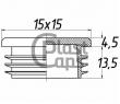 Заглушка квадратная внутренняя 15х15 мм