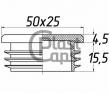 Заглушка прямоугольная внутренняя 25х50