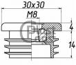 Заглушка 30х30 с резьбой М8