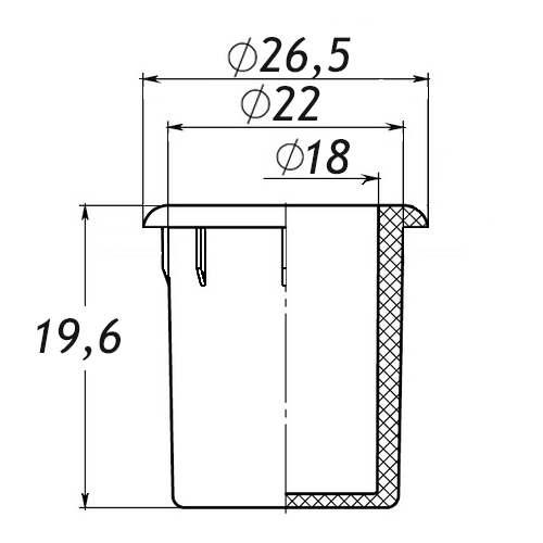 Заглушка для антисреза 22 мм-0