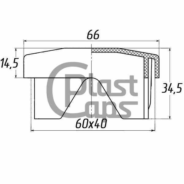 Заглушка прямоугольная универсальаня 40х60-0