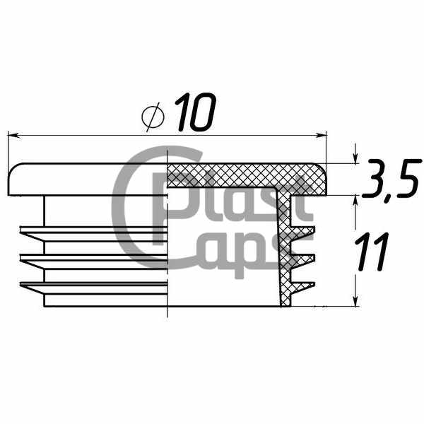 Заглушка круглая внутренняя 10 мм черная-0