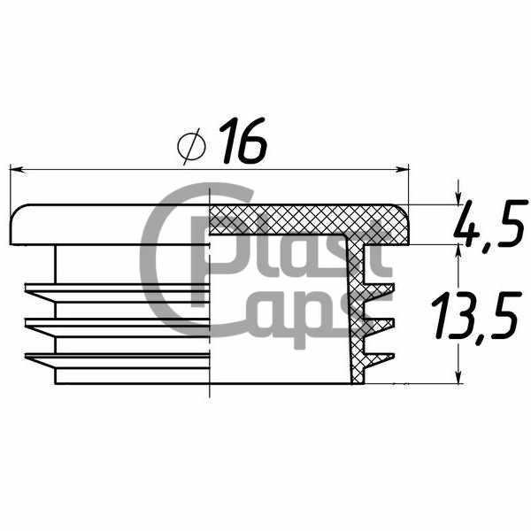 Заглушка круглая внутренняя 16 мм-0