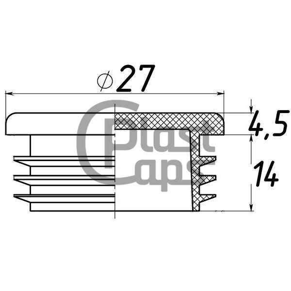 Заглушка круглая внутренняя 27 мм-0