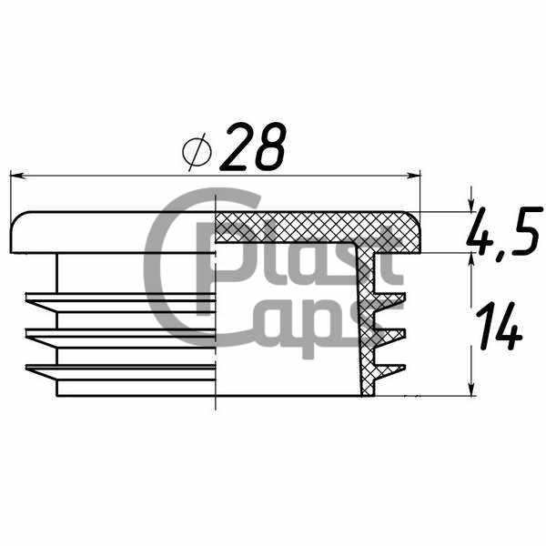 Заглушка круглая внутренняя 28 мм-0