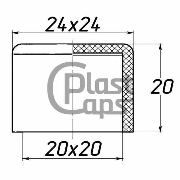 Заглушка квадратная наружная 20х20-0