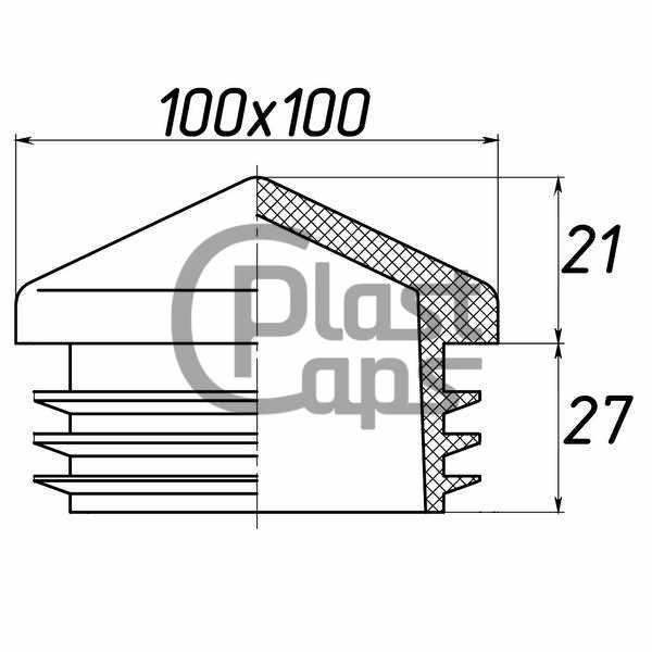 Заглушка квадратная внутренняя 100х100 пирамида-0