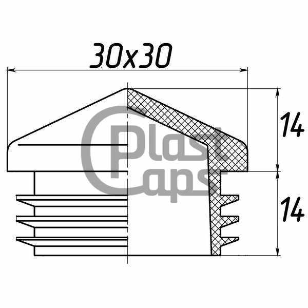 Заглушка квадратная внутренняя 30х30 пирамида-0