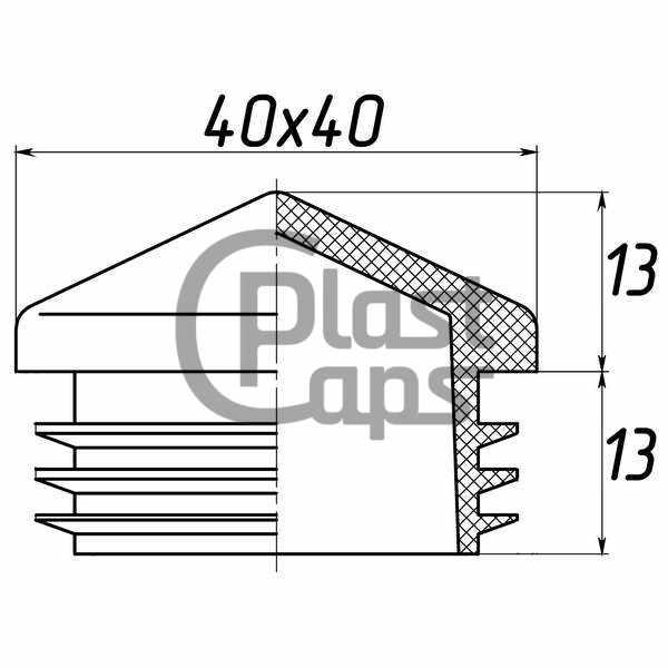 Заглушка квадратная внутренняя 40х40 пирамида-0