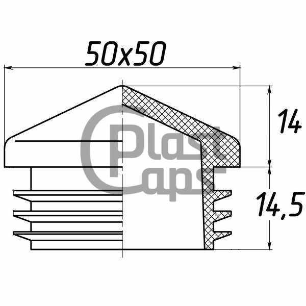 Заглушка квадратная внутренняя 50х50 пирамида-0
