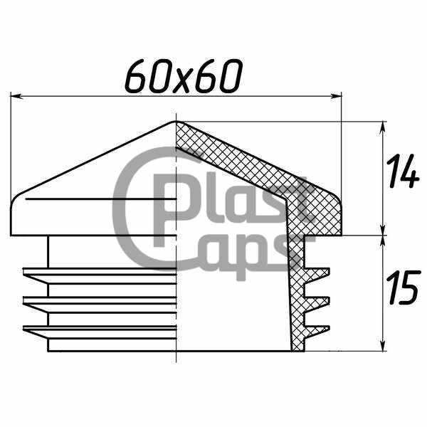 Заглушка квадратная внутренняя 60х60 пирамида-0