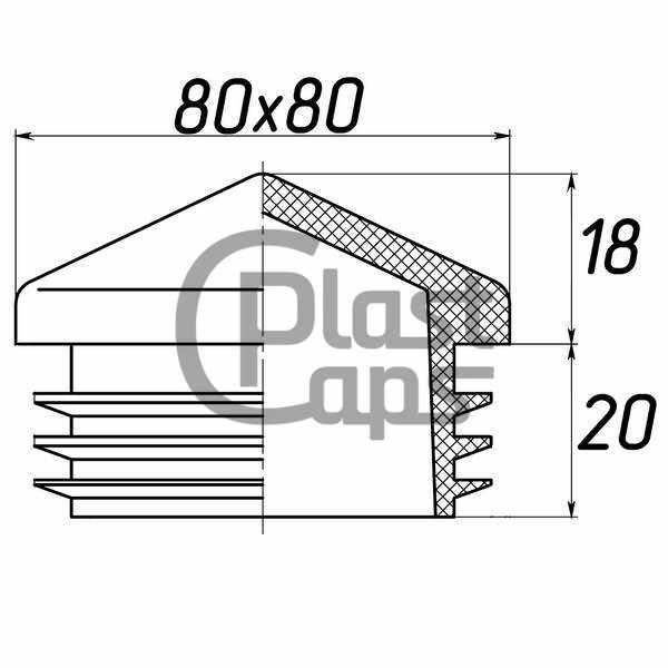 Заглушка квадратная внутренняя 80х80 пирамида-0
