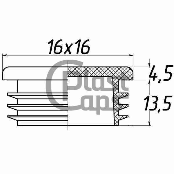 Заглушка квадратная внутренняя 16х16 мм-0