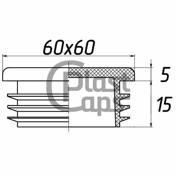 Заглушка квадратная внутренняя 60х60-0