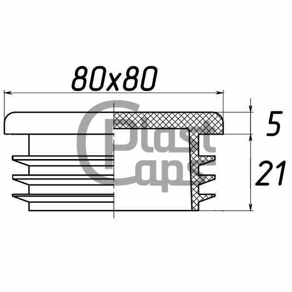 Заглушка квадратная внутренняя 80х80-0