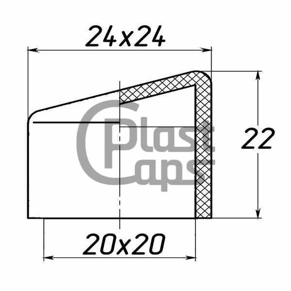Заглушка квадратная наружная 20х20 косая-0