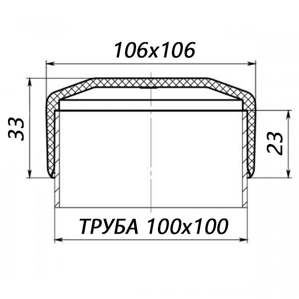Заглушка квадратная наружная 100х100-0