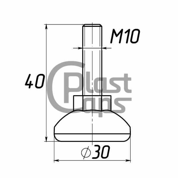 Регулируемая опора М10 D30M10L40-0