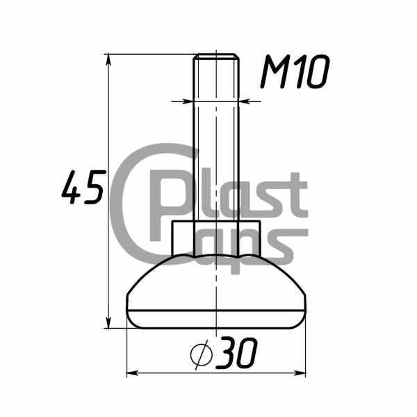 Регулируемая опора М10 D30M10L45-0