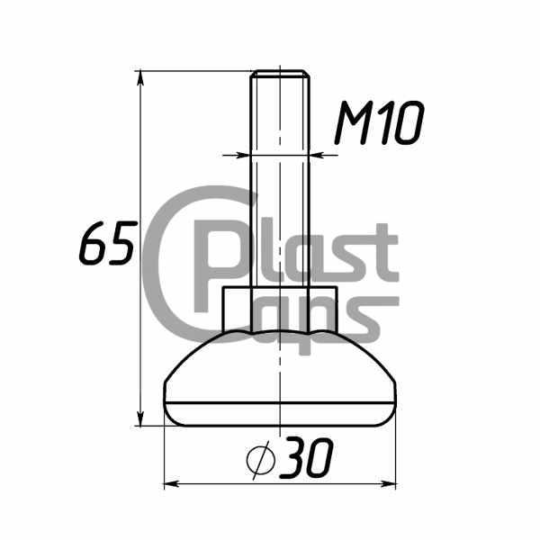 Регулируемая опора М10 D30M10L65-0