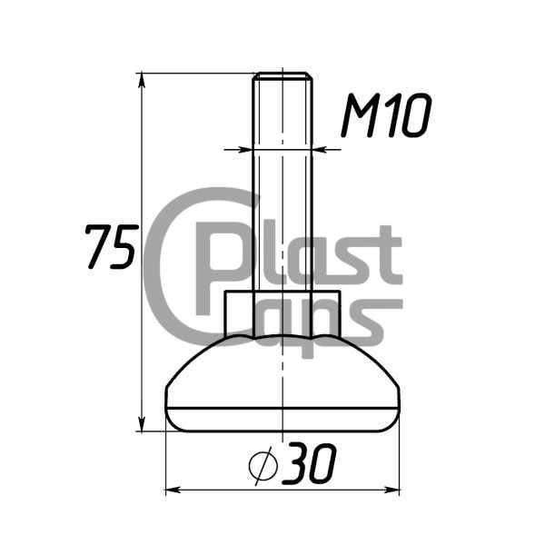 Регулируемая опора М10 D30M10L75-0