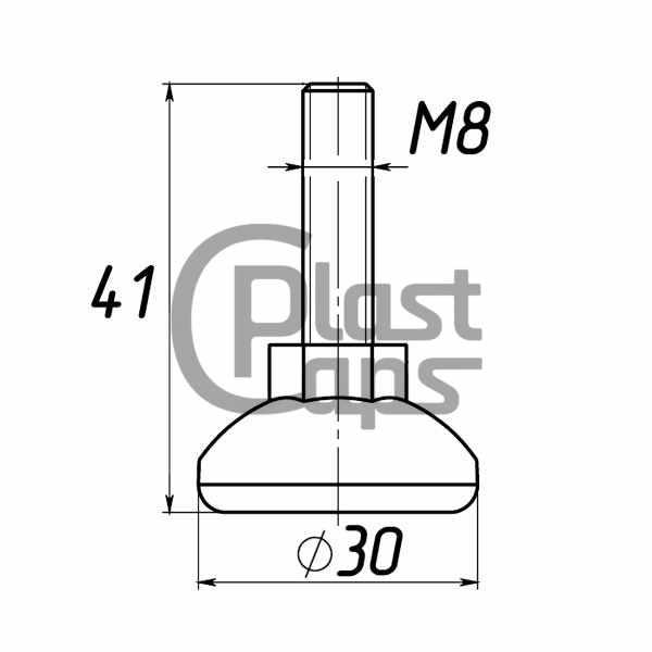 Регулируемая опора М8 D30M8L41-0