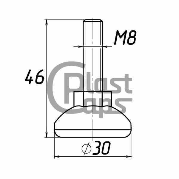 Регулируемая опора М8 D30M8L46-0