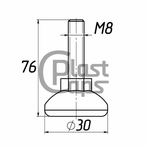 Регулируемая опора M8*76 D30-0