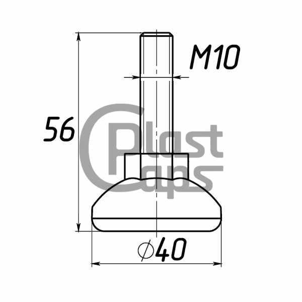 Регулируемая опора М10 D40M10L56-0