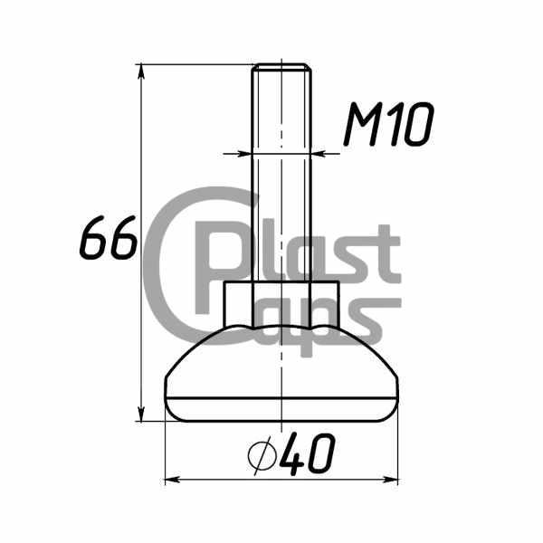Регулируемая опора М10 D40M10L66-0