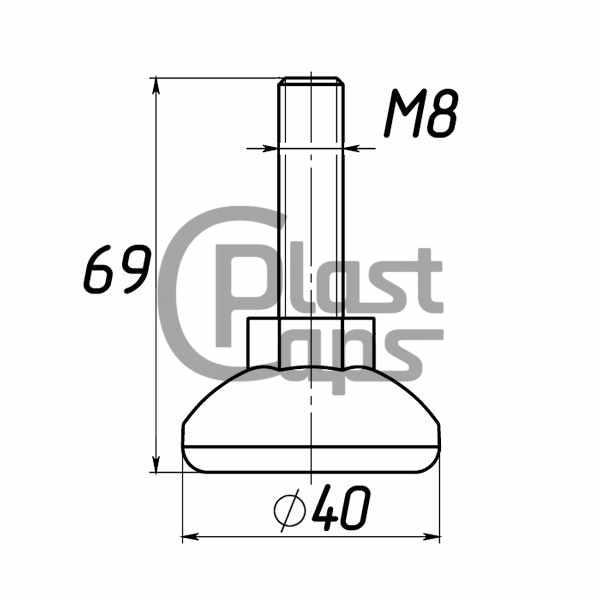 Регулируемая опора М8 D40M8L65-0