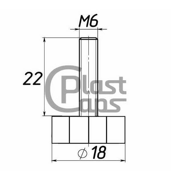 Мебельная опора под М6 D18M6L22-0