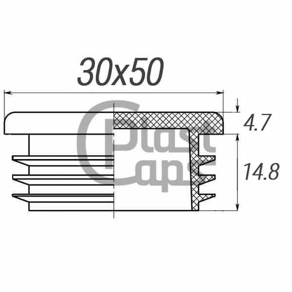 Заглушка овальная внутренняя 50х30-0