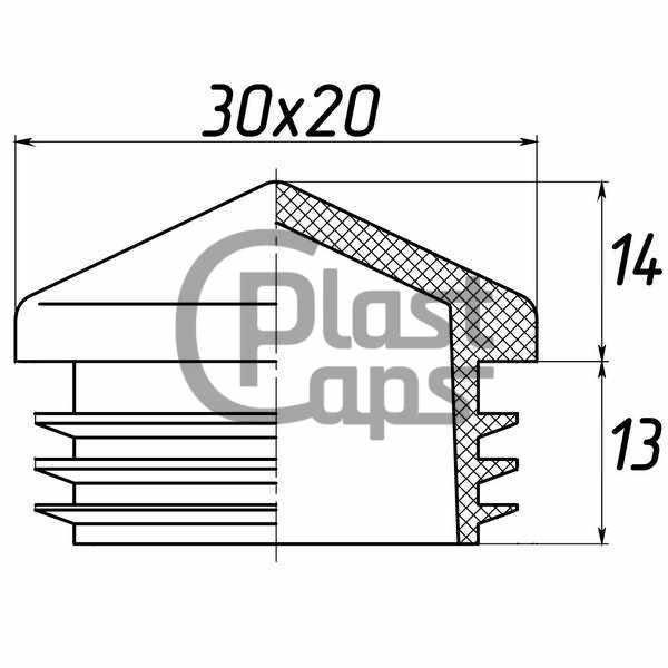 Заглушка прямоугольная 20х30 пирамида-0