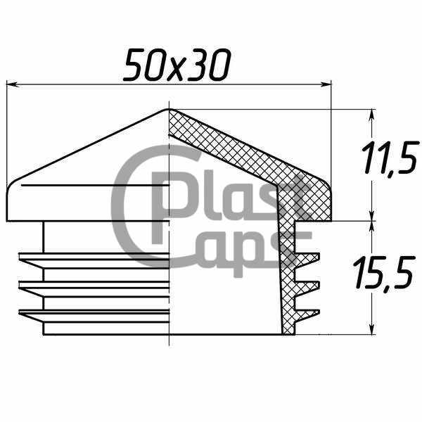 Заглушка внутренняя 30х50 пирамида-0