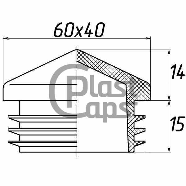 Заглушка прямоугольная 40х60 пирамида-0