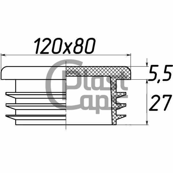 Заглушка прямоугольная внутренняя 120х80-0