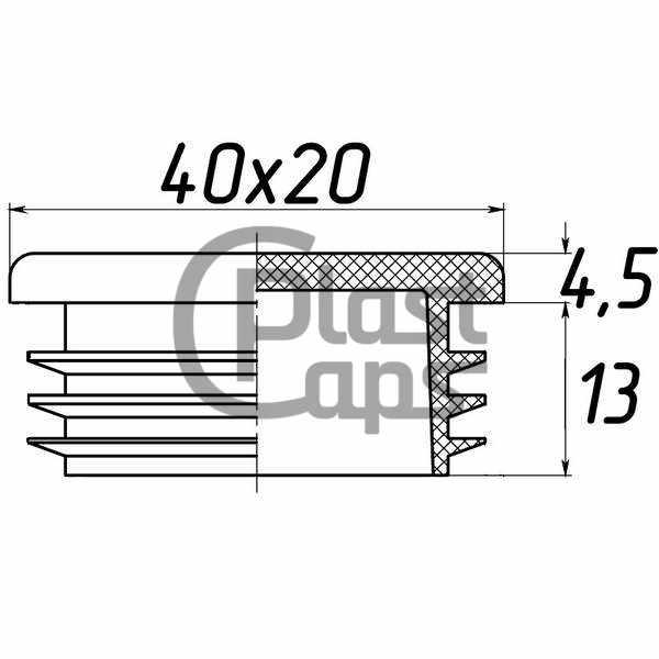 Заглушка прямоугольная внутренняя 20х40-0