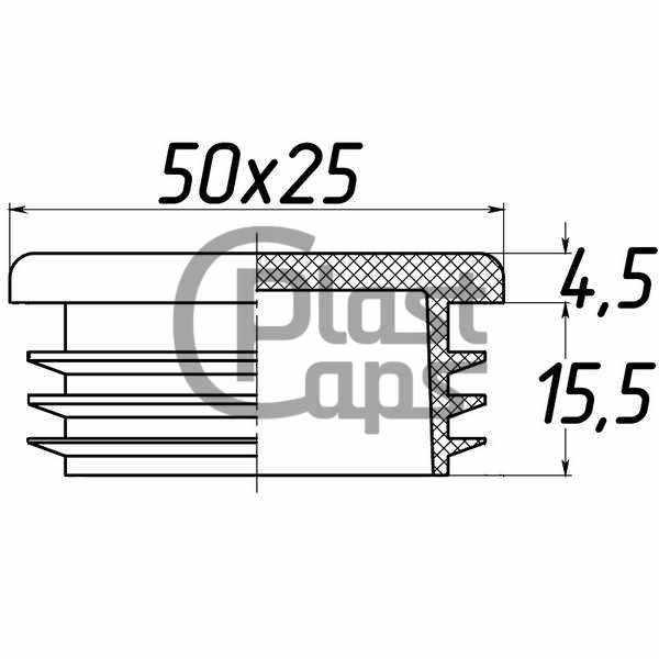 Заглушка прямоугольная внутренняя 25х50-0