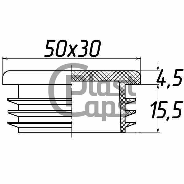 Заглушка прямоугольная внутренняя 30х50-0