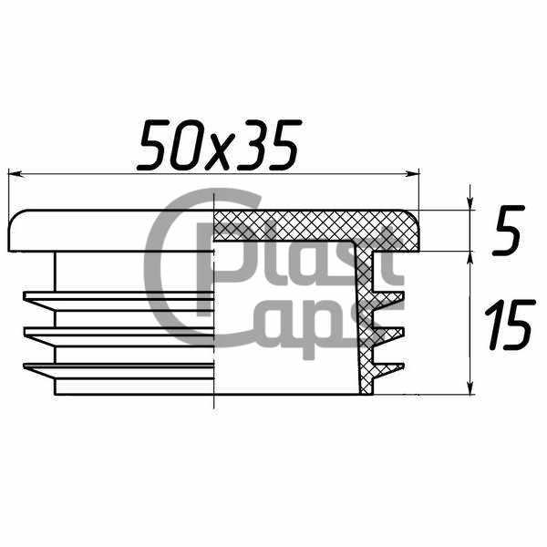 Заглушка прямоугольная внутренняя 35х50-0