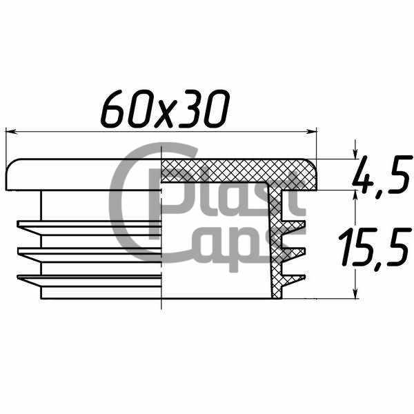 Заглушка прямоугольная внутренняя 30х60-0