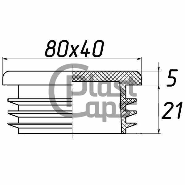 Заглушка прямоугольная внутренняя 40х80-0