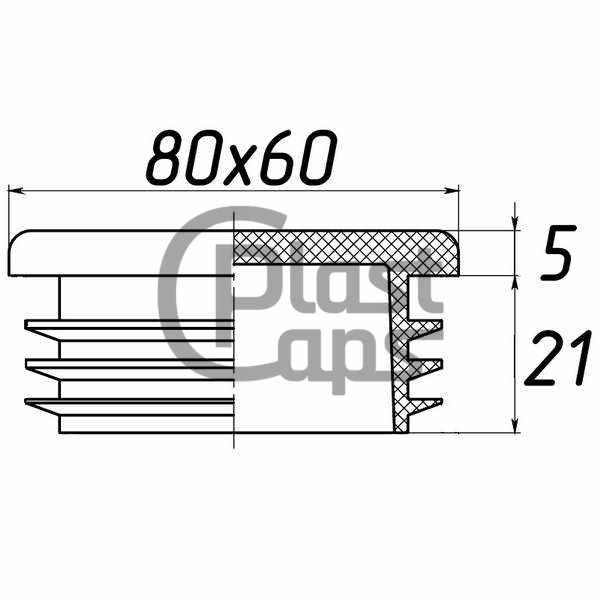 Заглушка прямоугольная внутренняя 60х80-0