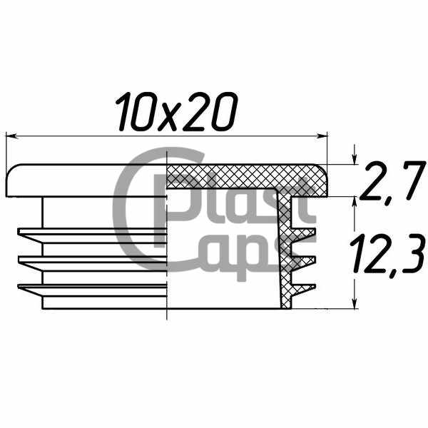 Заглушка прямоугольная 10х20-0