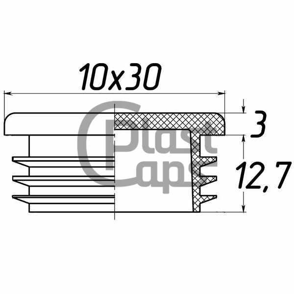 Заглушка прямоугольная 10х30-0