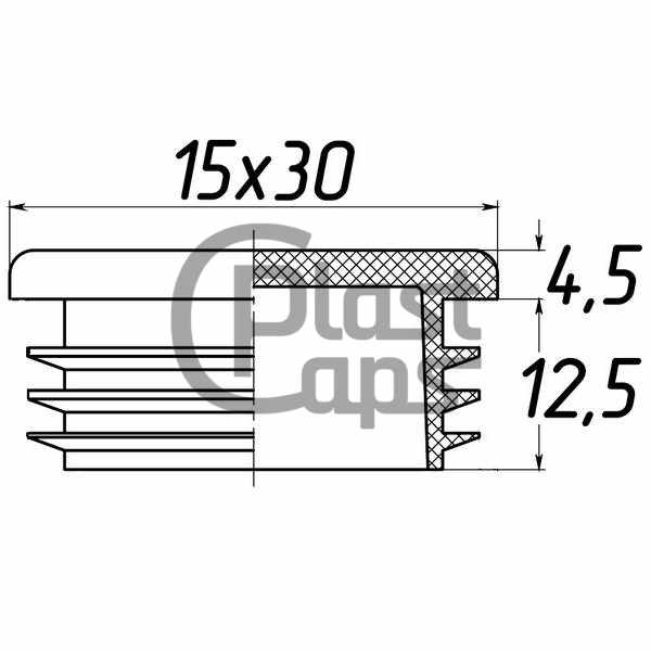 Заглушка прямоугольная 15х30-0