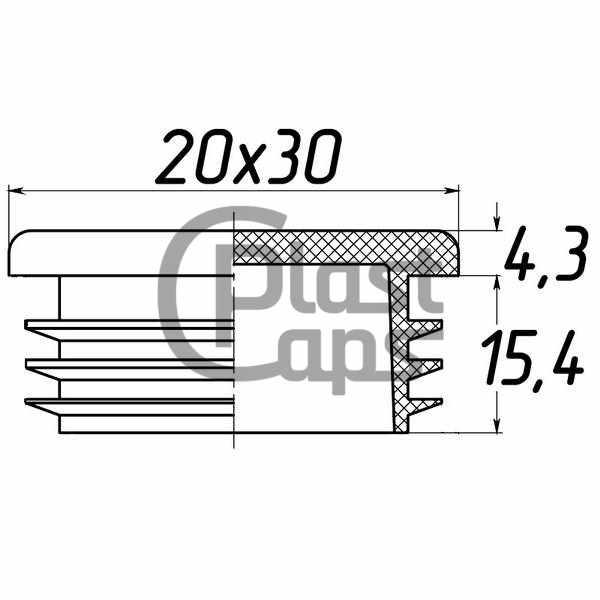 Заглушка прямоугольная 20х30-0