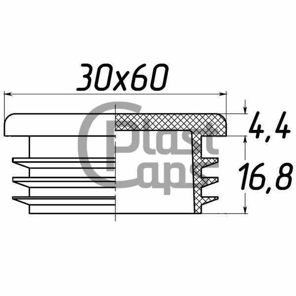 Заглушка прямоугольная 30х60-0