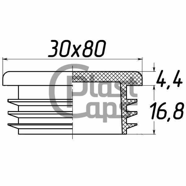 Заглушка прямоугольная 30х80-0